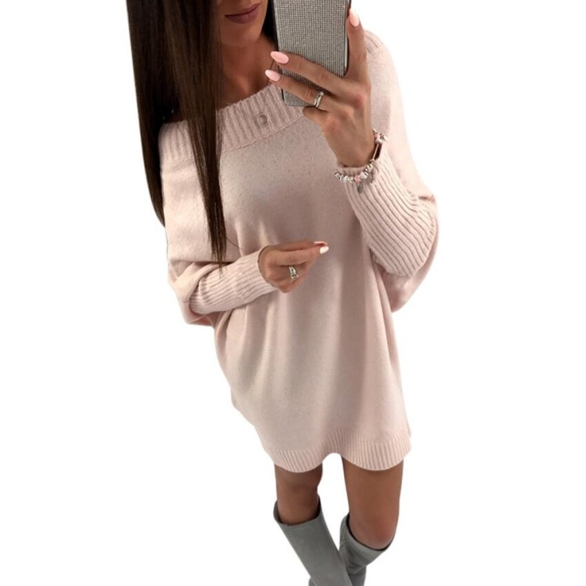Yoins Women New High Fashion Clothing Casual Long Sleeves Round Neck Loose Fit Light Pink Jumper Top - intl