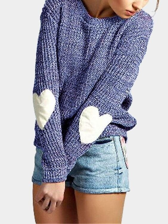 Yoins Women New High Fashion Clothing Casual Round Neck Long Sleeves Love Patchwork Blue Sweater Top - intl