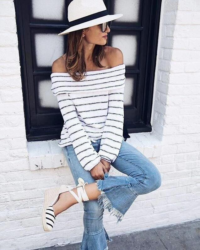 Yoins Women New High Fashion Clothing Casual Stripe Pattern Off The Shoulder Long Sleeves Jumper Top - intl