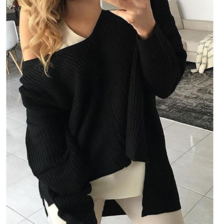 Yoins Women New High Fashion Style Clothing Casual Long Sleeve One Shoulder Loose Fit Black Sweater Top - intl