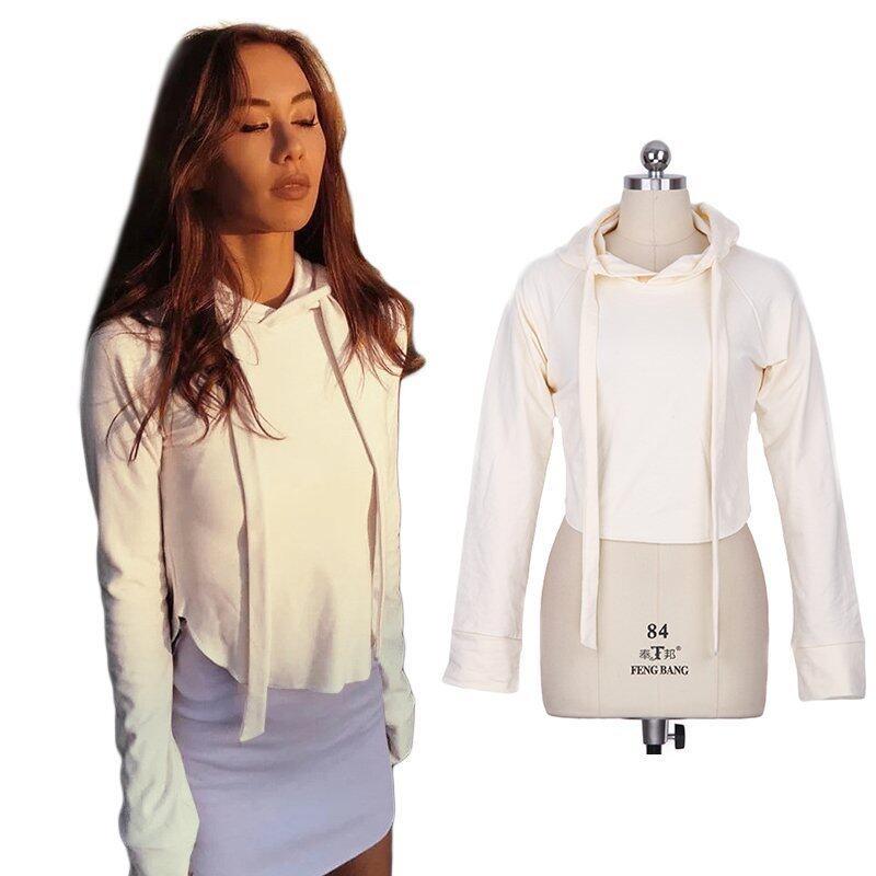 Zaful Ladies Casual Hoody Sweater Short Sweatshirt (Off-White) - intl