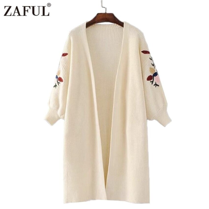 ZAFUL Women Ladies Cardigan Casual Fahion Floral Embroidery Pure Color Style Long Balloon Sleeve Knitted Long Sweater - intl