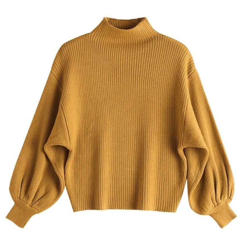 Zaful Women Mock Neck Lantern Sleeve Sweater(Yellow ) - intl