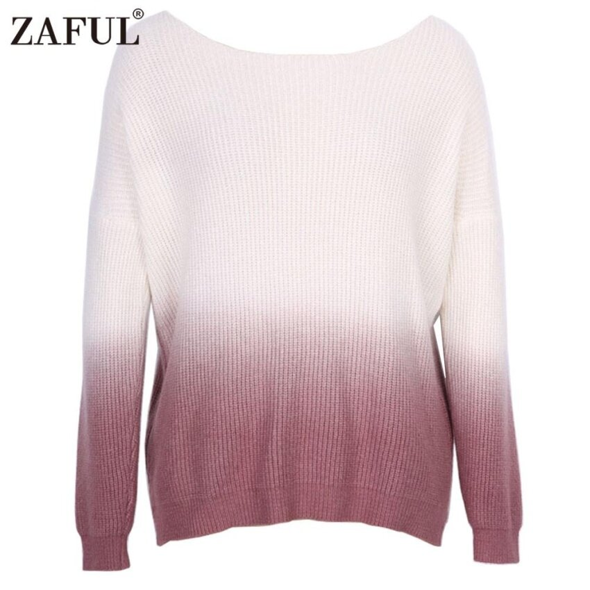 ZAFUL Women Pullover Elegant Ladies Sweater Casual Color Gradient Style Round Neck Long Raglan Sleeve Knitted Sweater - intl