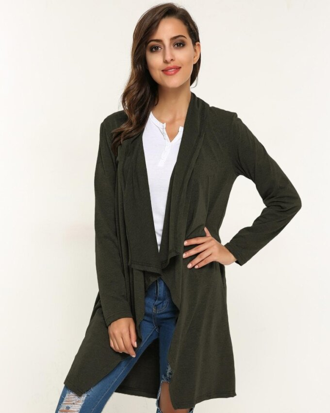 ZANZEA 2017 Women Autumn Stylish Elegant Casual Plain Solid Irregular Hem Thin Stylish Cardigans Coat Army Green - intl