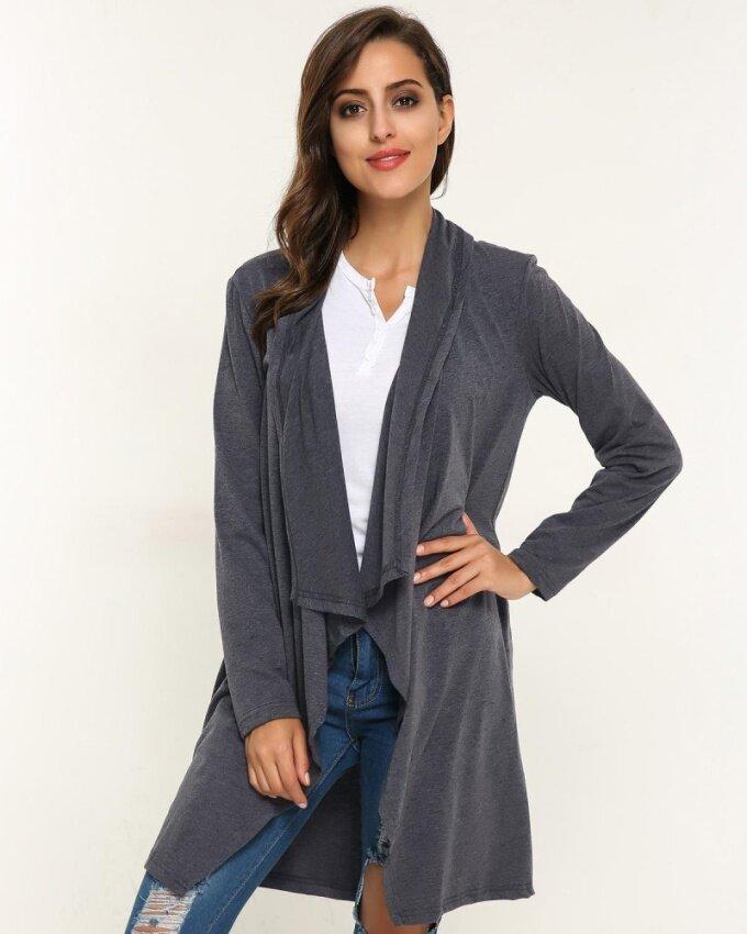 ZANZEA 2017 Women Autumn Stylish Elegant Casual Plain Solid Irregular Hem Thin Stylish Cardigans Coat Grey - intl