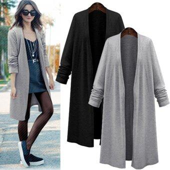ZANZEA Fashion Women Long Sleeve Casual Loose Cardigan Long Jacket Trench Coat Parka Top (Black) - intl