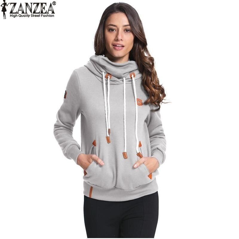 ZANZEA High Quality Women Hoodies Autumn Winter Brushed Fleece Warm Sweatshirt Plus Size Loose Sweatshirts (Grey) - intl