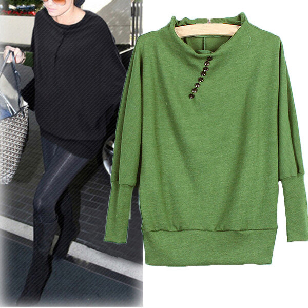 ZANZEA Ladies Batwing Knitwear Sweater Green