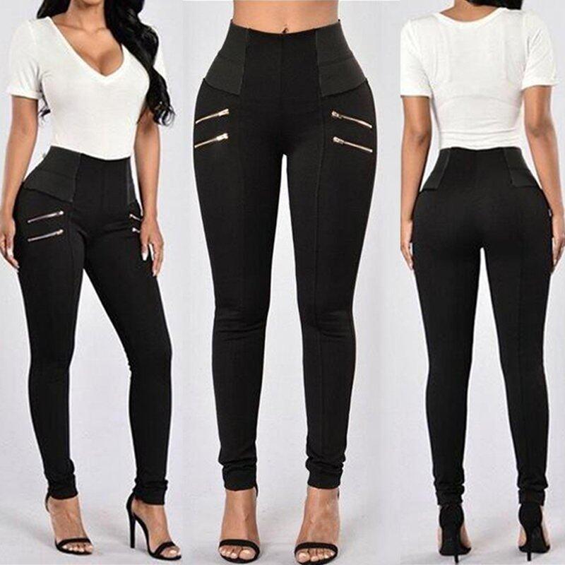 ZANZEA Plus Size Women High Waist Casual Splice Ladies Skinny Pants Trousers Leggings (Black) - intl