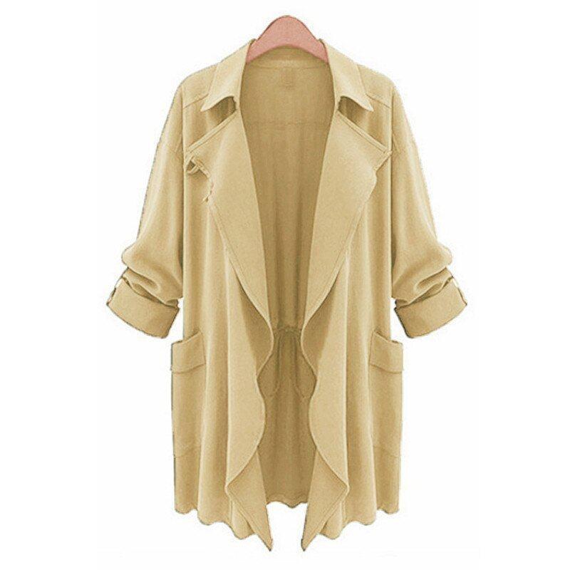 ZANZEA PLUS SIZE Womens Lapel Slim Long Chiffon Parka Cardigan Jacket Trench Coat New Beige Size M-5XL - intl
