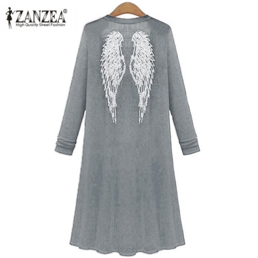ZANZEA Summer Kimono Long Sleeve Back Wings Diamonds Cardigan Outwear Casual Sunscreen Blouse Shirts Grey -Intl