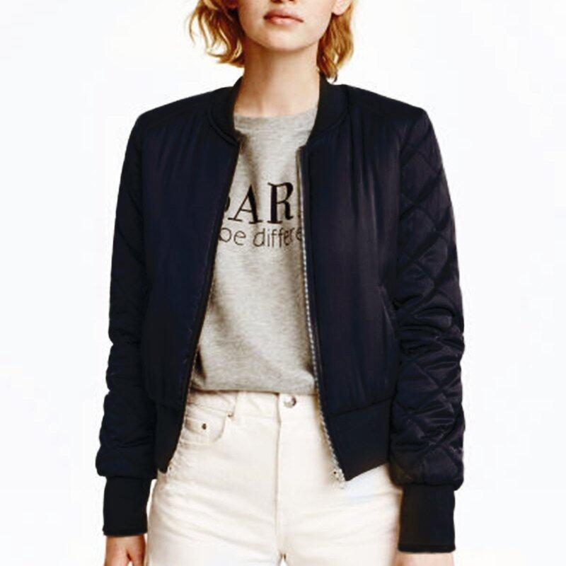 Zanzea Winter Women Bomber Hoodies Coats 2016 Cool Stand Collar Long Sleeve Short Padded Jackets Sweatshirts Biker Outwear Black - intl