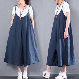 ZANZEA Women Summer Dungaree Casual Loose Jumpsuit Playsuits Fashion Wide Leg Baggy Long Pants Harem Trousers Plus Size S-3XL (Navy) - intl