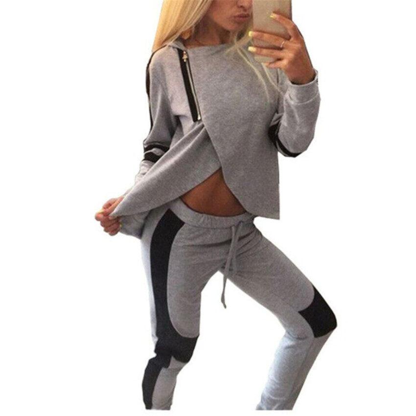 Zanzea Women Tracksuits Sport Suits Zipper Side Split Hoodies Long Sleeve Pullovers Sweatshirts With Pants Moletom Feminino 2016 Hot - intl