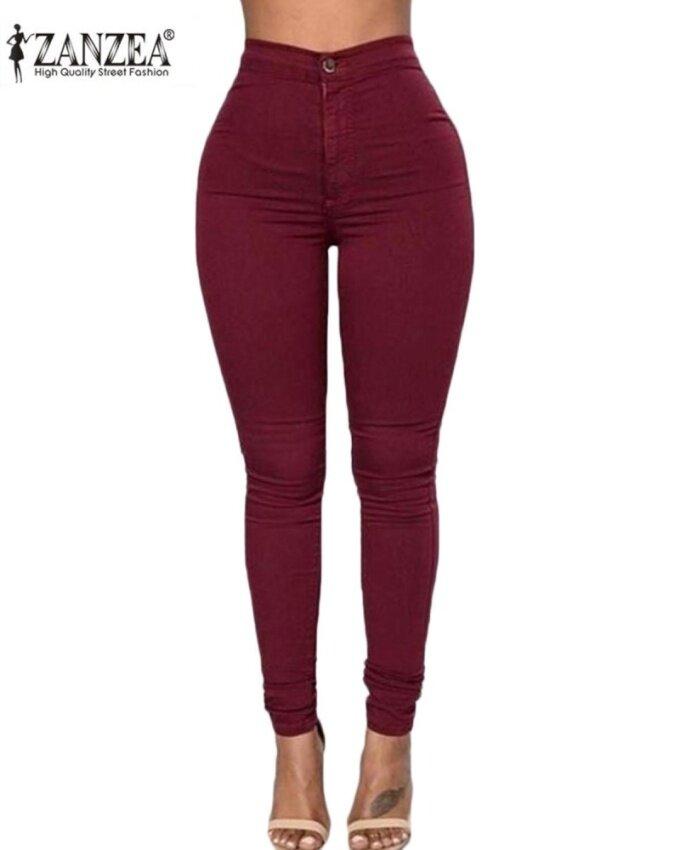 ZANZEA Women's Casual Slim High Waist Solid Stretchy Skinny Tights Pencil Pants Wine Red - intl