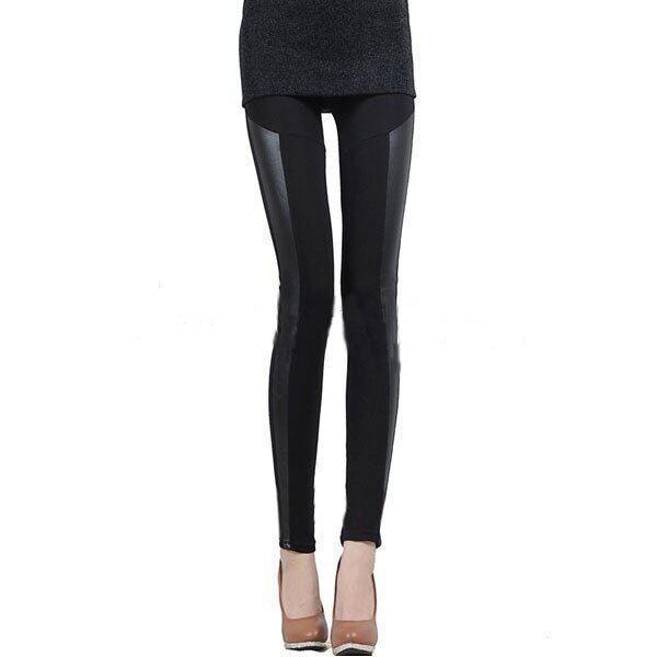 zanzea Womens Faux Leather Stretchy Leggings Ladies Shiny Pants Tights Black