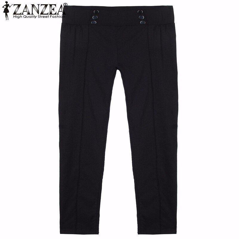 ZANZEA แฟชั่นวินเทจสาวน้อยร้อนน้อยเอวกางเกงสกินนี่สาวเซ็กซี่สบายเท้าดินสอ Bodycon กางเกงรัดรูปสีดำ