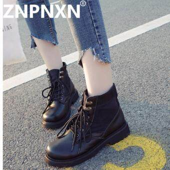 ZNPNXN Fashion Autumn And Winter New Martin Boots Leather Boots With Wearable Women Boots (Black) - intl