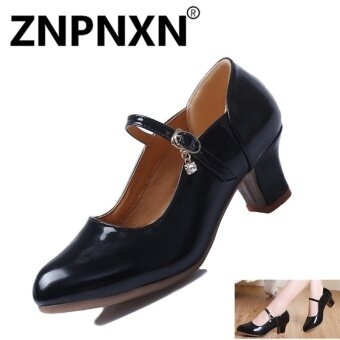 ZNPNXN Summer New Square Dance Shoes Women'S Soft Bottom Dance Shoes Shallow Mouth Comfortable Dance Shoes(Black) - intl
