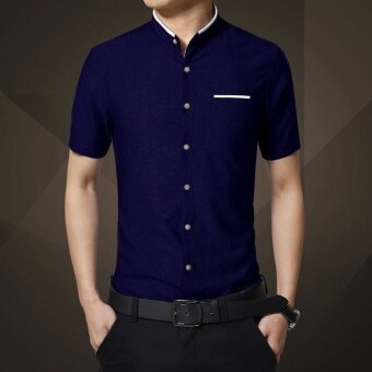 Harga ZOQI Men's Fashion Summer Casual Shirts(Dark blue) - intl