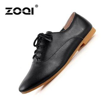 ZOQI Women's Fashion Flat Shoes Brogues & Lace-Ups Shoes(Black)- intl