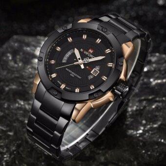 ราคา รับประกัน 1 ปี NAVIFORCE นาฬิกาข้อมือ สายแสตลเลสดำ รุ่นNF9085-RG กันน้ำได้ ขอบโรสโกล
