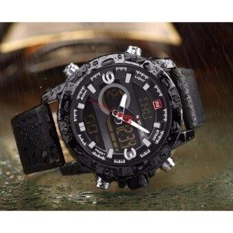 ประเทศไทย รับประกัน 1 ปี - NAVIFORCE นาฬิกาข้อมือผู้ชาย NF9097-BBLA สองระบบ สายหนังสีดำ
