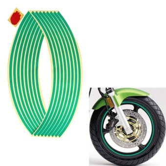 1 Set 16 strips 12 inch Car Wheel Sticker Reflective Wheel Sticker Rim Stripe Tape Bike Motorcycle (Green) - intl