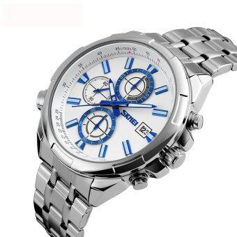 รับประกัน 1 ปี ของแท้แน่นอน SKMEI นาฬิกาข้อมือผู้ชาย สไตล์ Casual Bussiness Watch บอกวันที่ หน้าปัดเล็กด้านในใช้งานได้จริง กันน้ำ สายแสตนเลสสีเงิน รุ่น SK-0003 สีเงิน (Silver)