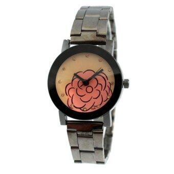 2561 นาฬิกาแฟชั่นผู้หญิง สีดำ สายสแตนเลส รุ่น 106
