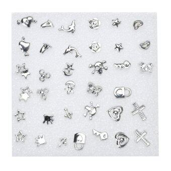 18 Pairs Chic Fabulous Plastic Ear Studs(Silver) - intl