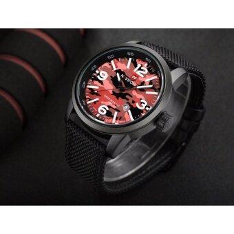 ซื้อ/ขาย รับประกัน 1ปีNAVIFORCE นาฬิกาข้อมือระบบควอตซ์ สายผ้าไนล่อน รุ่น NF9080-BRB สีดำแดง