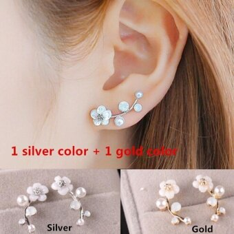 1pcs Gold Color and 1pcs Silver Color Korean Shells Pearl FlowerWoman Fashion Stud Earrings - intl