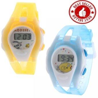 ประเทศไทย นาฬิกาข้อมือดิจิตอลโปร่งใสการ์ตูนแฟชั่นเกาหลี สำหรับเด็ก คละสี (แพ็ค2)