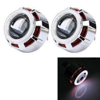 2 PCS 2.5 Inch Universial 12V Bi-Xenon Projector Lens Headlight KitWith Exquisite Angle Eyes Decoration(Red Light) - intl