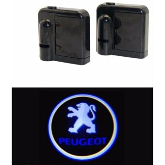 2 x Wireless LED Car Door Warning Light With Projector Logo Welcome Ghost Shadow Light For Peugeot - intl