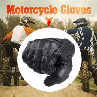 2016 Best Quality Men Motorcycle Gloves Outdoor Sports Full FingerShort Leather Gloves without hole L(black)
