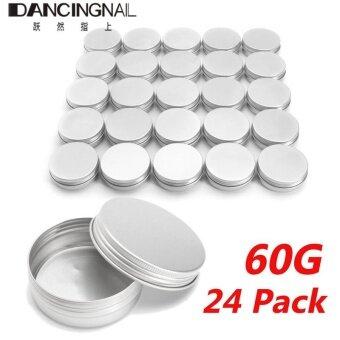 24 X Steel Round Tin Cans 2 oz Screw Top Lid Storage Beard Lip Balm Empty Can - intl