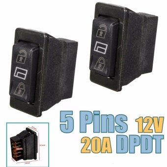 2pcs 12V 20A 3 in 1 Universal Car 5pins DPDT Momentary Power Window Switch Door Lock Control - intl