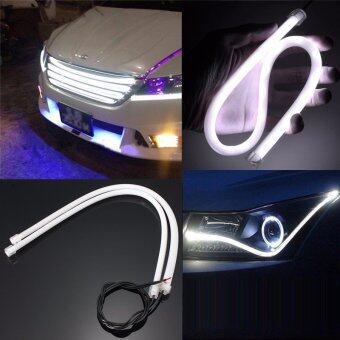 2pcs 45CM White Soft Guide Car Motorcycle LED Strip Light Lamp DRLLight 12v DC - intl