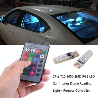 Harga 2Pcs T10 6SMD 5050 RGB LED Car Width Interior Reading Light LampBulb with Remote Controller - intl