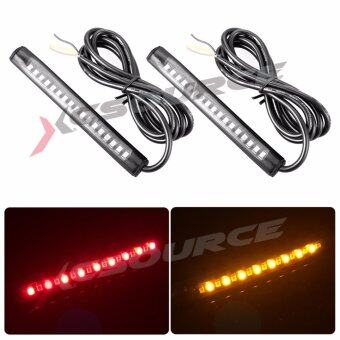 Harga 2pcs Universal 17 LED 2835 SMD Brake + Turn Signal Strip Red + Amber for Car Vehicle Motorcycle Bike SUV