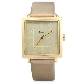 จูเลียสจ๋า-354 สแควร์ควอทซ์หน้าปัดนาฬิกาหนังเพศปกติโกลเด้น (image 0)