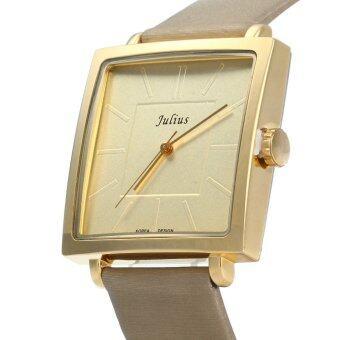 จูเลียสจ๋า-354 สแควร์ควอทซ์หน้าปัดนาฬิกาหนังเพศปกติโกลเด้น (image 1)