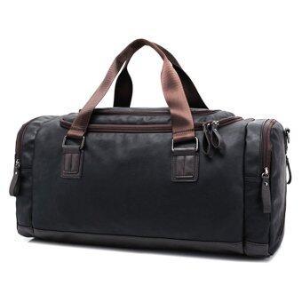 360WISH PU Duffel หนังกระเป๋าสะพายกระเป๋ากระเป๋าเดินทางยิมกระเป๋ากีฬาชาย-สีดำกาแฟ