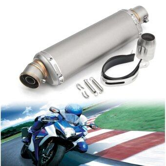 38-51mm Stainless Steel Universal Motorcycle Exhaust Muffler Pipe w/ Silencer Titanium L - intl