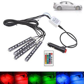 Harga 4 In 1 Wireless Remote Control RGB 9-LED Car Auto Interior Floor Decor Atmosphere Light 7 Colors With Telecontroller 6W- Intl