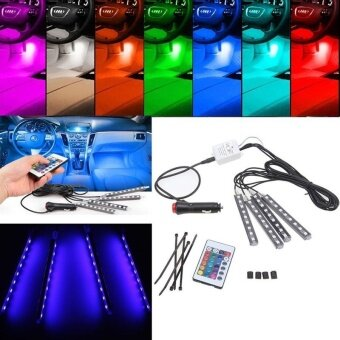 4pcs Wireless Remote/Music/Car RGB LED Neon Interior Light LampStrip Decorative Lights - intl รูบที่ 4