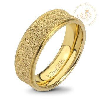 555jewelry แหวน สแตนเลสสตีล - แหวน เรียบๆทำผิวทรายระยิบสวยงาม ปัดเงาขอบข้างดูหรูหรา สี ทอง MNC-R704-B